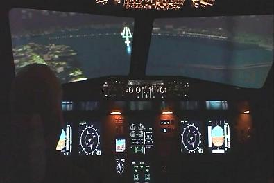 Cockpit view of night time landing